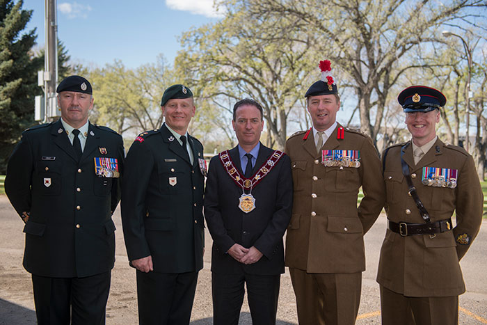 On April 23, 2015 Medicine Hat Mayor Ted Clugston granted the Freedom of the City of Medicine Hat, Alberta, to Canadian and British Armed Forces. .Medicine Hat Mayor Ted Clugston (centre), Lt Col Sean Hackett (Centre Left), Commander of Canadian Forces Base Suffield, and Col Landon (Centre Right), Commander British Army Training Unit Suffield, along with their respective Base / Regimental Sergeant Major (Far Left and Right)