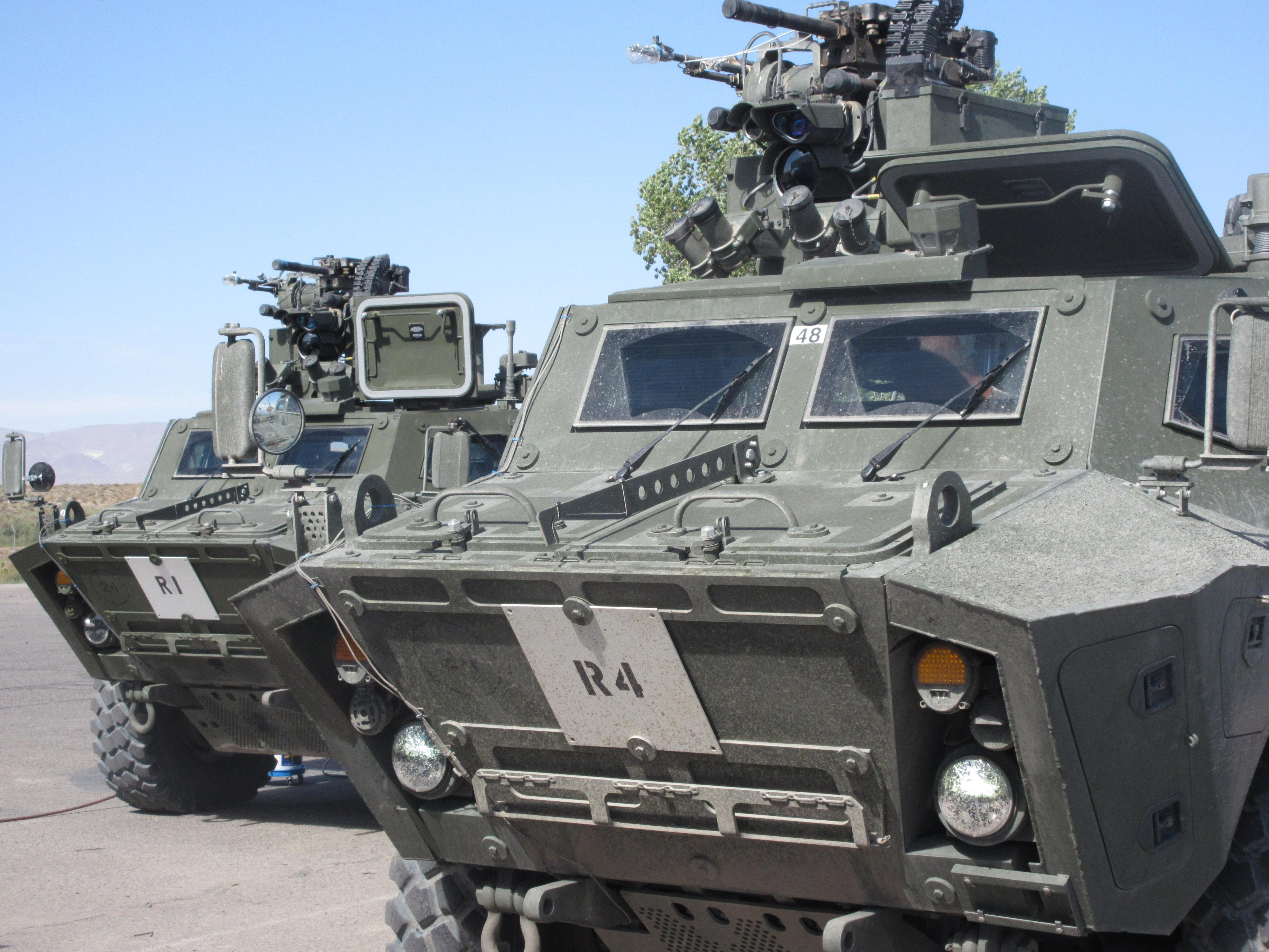 Front view of two Tactical Armoured Patrol Vehicles. Photo supplied by: Textron Systems Canada Inc.