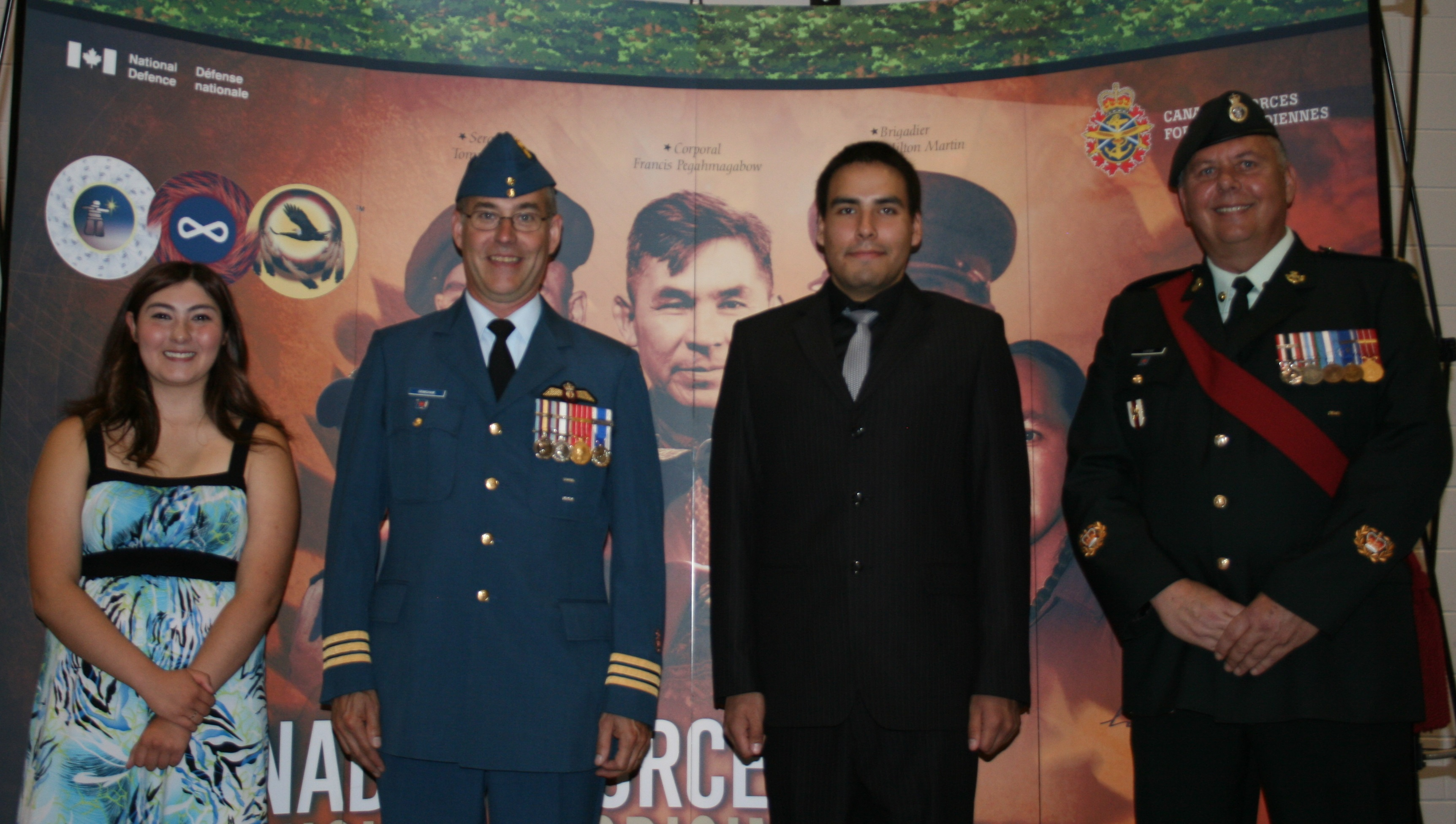 Master Warrant Officer Paul Lucas (far right) in 2013 with Officer Cadets Cassandra Lemon and Nick Courchene, two participants of the Aboriginal Leadership Opportunity Year (ALOY), and Lieutenant-Colonel Douglas Grimshaw. MWO Lucas was awarded the Meritorious Service Medal in 2016 for his outstanding work as a recruiter, where he focuses on Aboriginal communities. The ALOY program offers Aboriginal students the opportunity to experience military training and Aboriginal cultural activities. Photo supplied by: MWO Paul Lucas