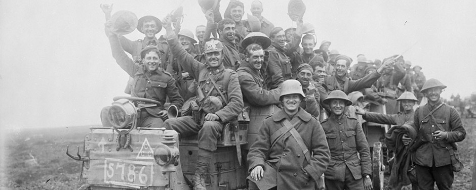 Slide -  Canadians returning victorious from battle at Courcelette
