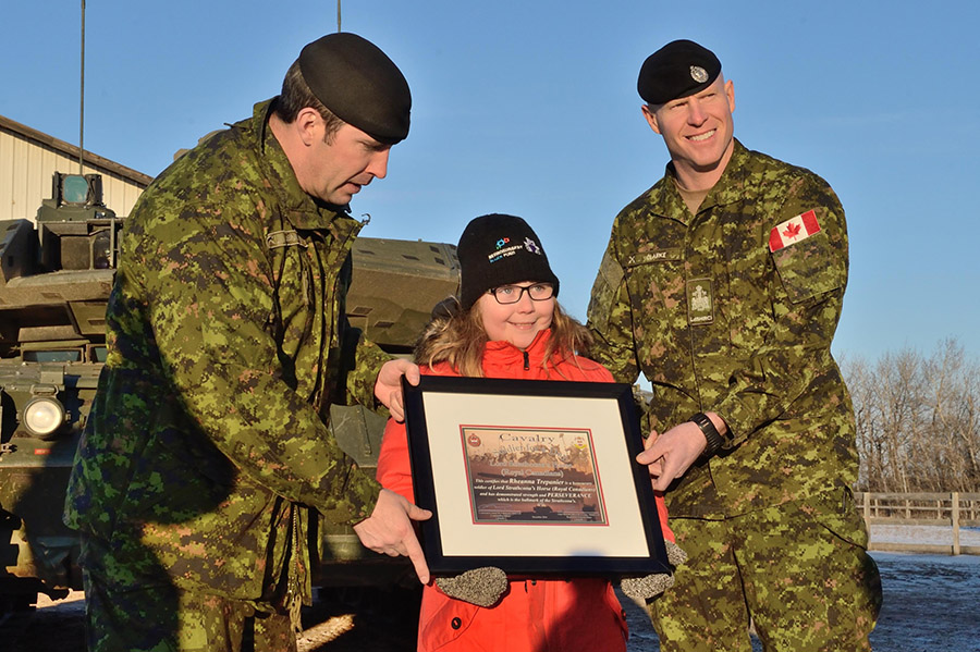Rheanna was designated as an honorary soldier after spending the afternoon touring the training centre and stables. 