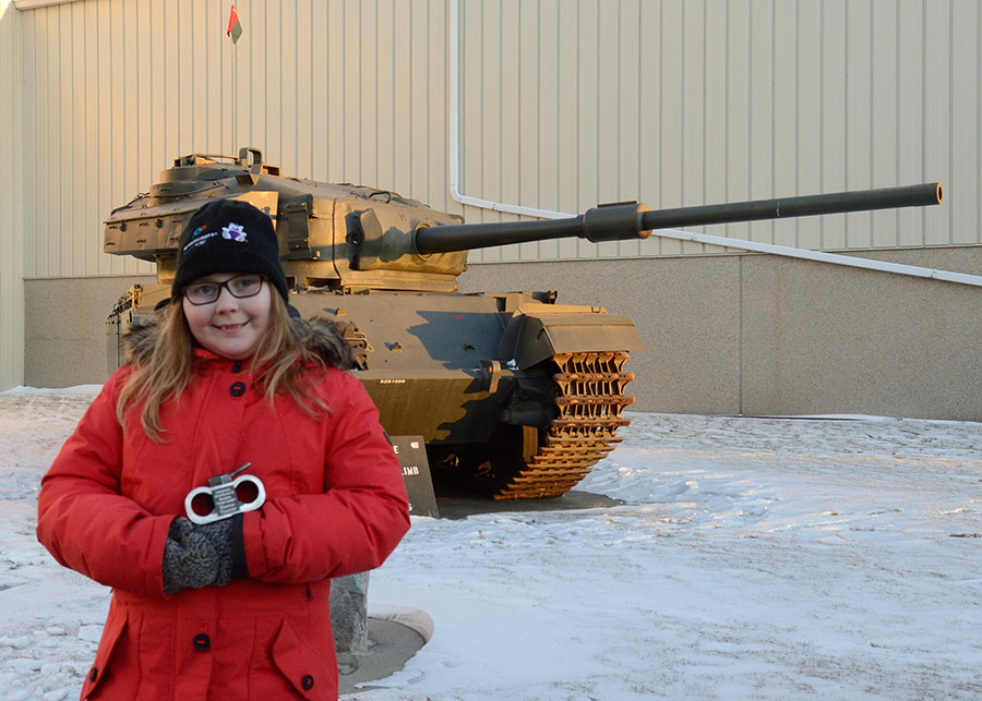 Rheanna Trepanier, honorary soldier, was given a handmade tank after spending the afternoon with LdSH(RC).  Photo by: Breanne Brezinski