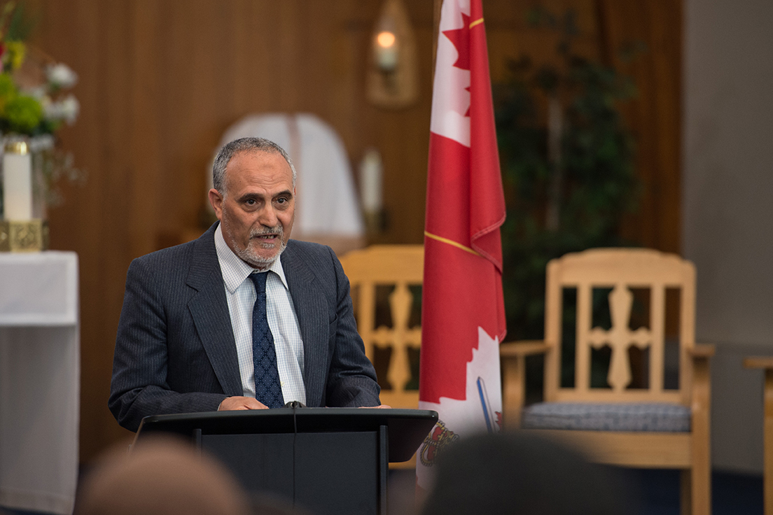 During a short speech, the President of the ICCQ, Mohamed Labidi, expressed his gratitude for the solidarity shown by the military members. Photo: Cpl Nedia Coutinho, Valcartier Imaging Section