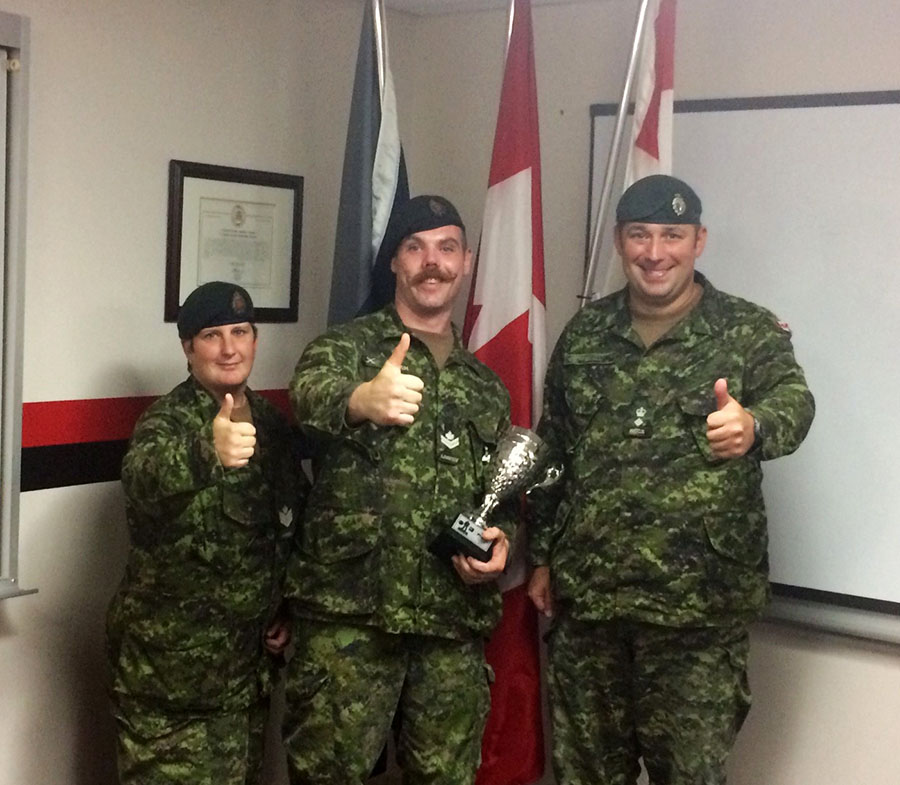 Master Corporal Andrew Roach's performance was acknowledged by his supervisor, Sergeant Kim Parr, and his commanding officer, Lieutenant-Colonel Jeremy Small at 21 Electronic Warfare Regiment in Kingston, Ontario on August 28, 2017.