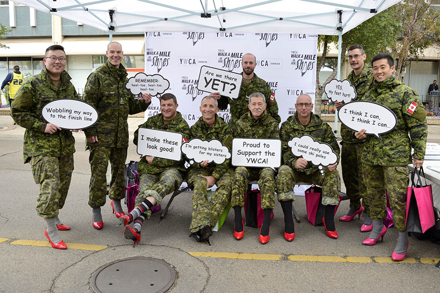 "Soldiers  right before taking part in the Edmonton YWCA's 2017 ""Walk a Mile in Her Shoes"" fundraiser"