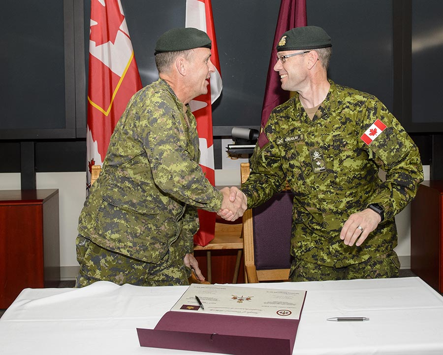 Major General Hetherington transfers Command Authority for Canadian Combat Support Brigade to 5th Canadian Division