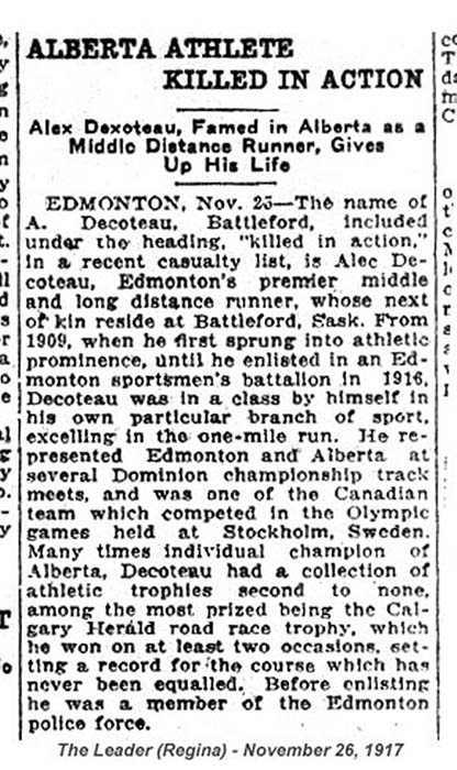 Alex Decoteau's newspaper death notice, November 23, 1917. The headline reads: Alberta Athlete Killed in Action - Alex Decoteau, Famed in Alberta as a Middle Distance Runner, Gives Up His Life. It ran in the November 26 edition. Courtesy of The Canadian Letters and Images Project