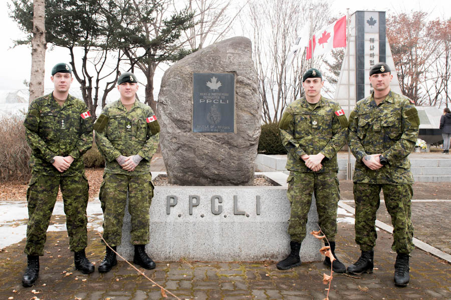 Members of Royal 22e Régiment visit the War Memorial of Korea in Seoul, South Korea on January 21, 2018.
