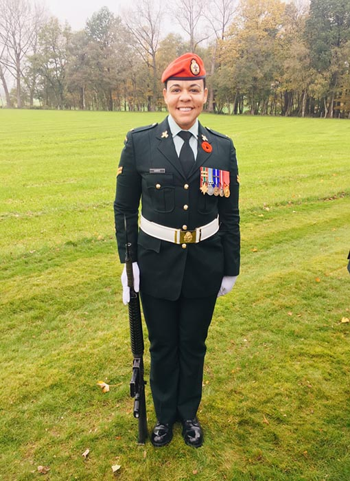 Corporal Peggy Harris, an Army Reservist with 1 Military Police Regiment in Winnipeg, took part in the 100th anniversary commemoration events at Hill 62 (Sanctuary Wood) Canadian Memorial in Belgium on November 11, 2017. 