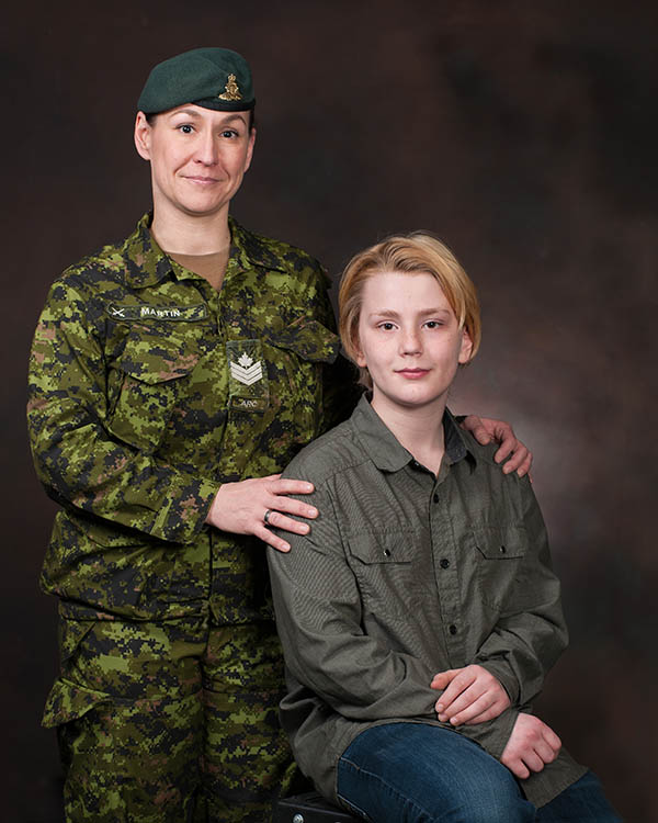 Portrait of Sgt Marie-Eve Martin and her son