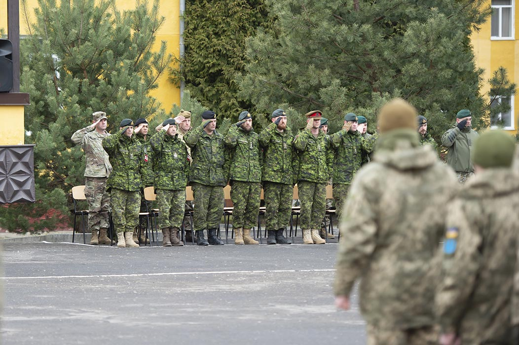 Rotational Training Brigade 1901 conducts a parade to mark the start of their instruction at the International Peacekeeping and Security Centre near Yavoriv, Ukraine during Operation UNIFIER on March 11, 2019.  Photo: Joint Task Force-Ukraine. ©2019 DND/MDN Canada.